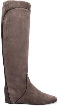 Lanvin - Grosgrain-trimmed Suede Knee Boots - Anthracite $1,095 thestylecure.com