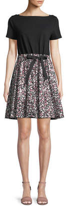 Kate Spade Wildflower Mixed-Media A-Line Dress