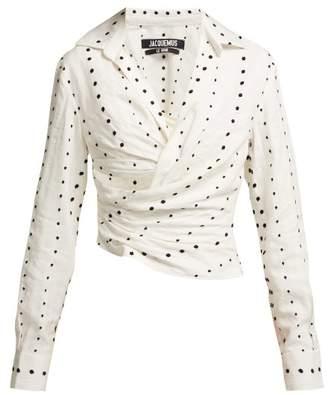 Jacquemus La Chemise Fil CoupA Polka Dot Cotton Shirt - Womens - White Multi