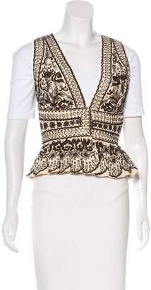 Naeem Khan Silk Embroidered Vest