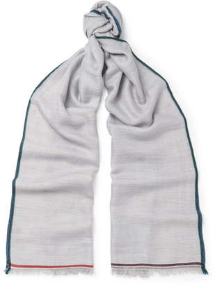Loro Piana Fringed Contrast-Trimmed Cashmere, Silk And Hemp-Blend Scarf