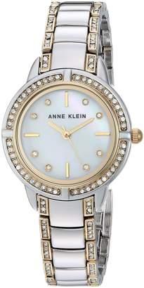 Anne Klein Women's AK/2977MPTT Swarovski Crystal Accented Two-Tone Bracelet Watch