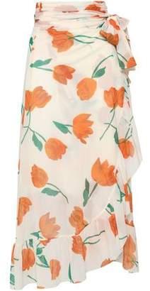 Ganni Tilden Ruffled Floral-Print Mesh Midi Wrap Skirt