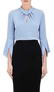 Victoria Beckham Women's Silk High-Neck Blouse-Md. Blue