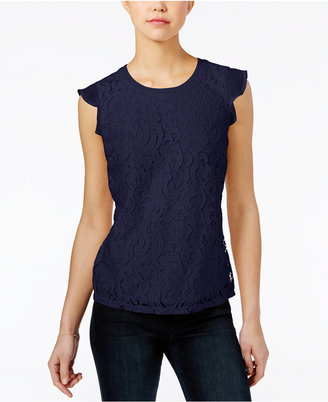 Maison Jules Lace Flutter-Sleeve Top, Only at Macy's $49.50 thestylecure.com