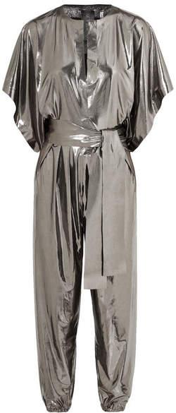 Rectangle Stretch-lamé Jumpsuit - Silver