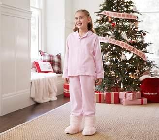 Pottery Barn Kids Solid Flannel Pajama, 4, Light Pink