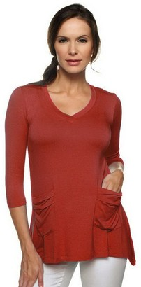 Logo By Lori Goldstein LOGO by Lori Goldstein V-neck Tee with 3/4 Sleeves and Pocket Detail