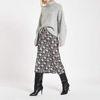 River Island Womens Black snake print satin bias midi skirt
