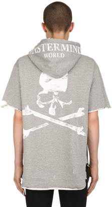 Faded Print Hooded Distressed Sweatshirt