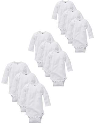 Gerber Organic Cotton Short Sleeve Onesies Grow-With-Me Bodysuits, 9-piece Set (Baby Boys or Baby Girls Unisex)