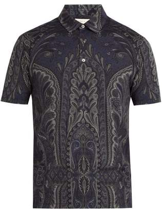 Etro Paisley Print Cotton Polo Shirt - Mens - Navy Multi