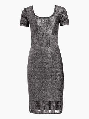 St. John Metallic Plaited Mixed Knit Dress