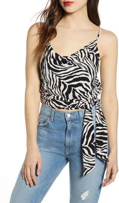 J.o.a. Zebra Print Cowl Neck Side Tip Top