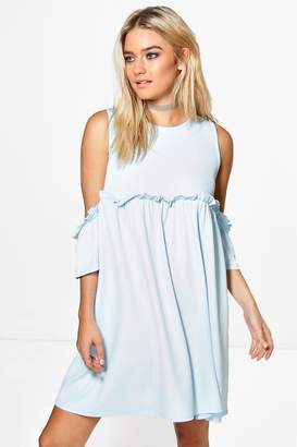 boohoo Cold Shoulder Ruffle A-line Shift Dress