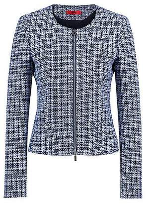 HUGO BOSS Collarless blazer in midweight tweed with front zip