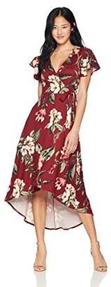 Amy Byer A. Byer Women's Junior's High-Low Faux Wrap Knit Dress