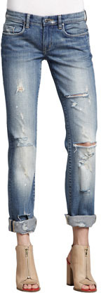 Blank Relaxed Deconstructed Cuffed Jeans