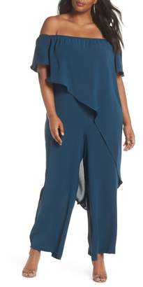Adrianna Papell Gauzy Off the Shoulder Crepe Jumpsuit
