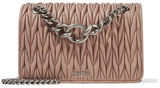 Miu Miu Club Matelassé Leather Shoulder Bag - Taupe