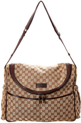 Gucci Brown Gg Canvas & Leather Diaper Bag