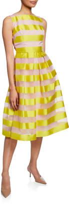 Lela Rose Striped Full-Skirt Dress