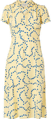 Morgan HVN Printed Silk Crepe De Chine Dress - Pastel yellow