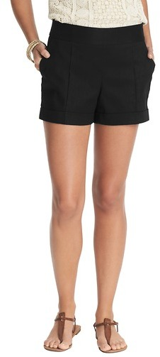 "LOFT Cuffed Stretch Linen Cotton Shorts with 4"" Inseam"