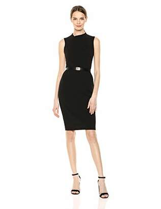 Calvin Klein Women's Sleeveless Belted Sheath with Ruched Bodice Dress