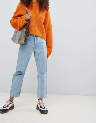 Asos Design DESIGN Recycled Florence authentic straight leg jeans in light stonewash blue with rips