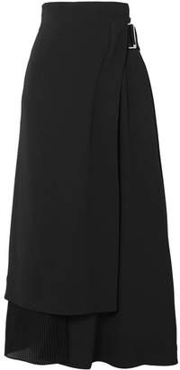 Victoria Beckham Pleated Crepe And Cady Wrap Skirt - Black
