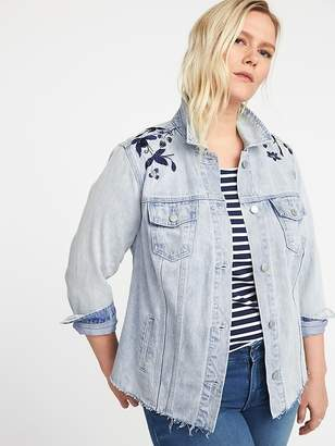 Old Navy Plus-Size Embroidered-Graphic Denim Jacket
