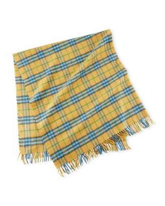 Burberry Cashmere Vintage Check Baby Blanket, Blue