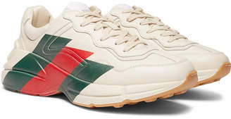 Gucci Rhyton Striped Leather Sneakers - Men - Off-white