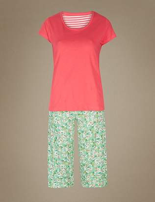 Marks and Spencer Pure Cotton Cropped Short Sleeve Pyjama Set
