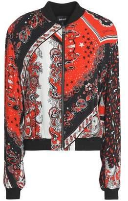 Just Cavalli Printed Crepe Bomber Jacket