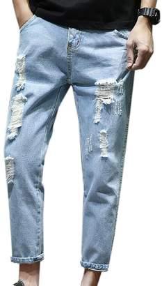 3.1 Phillip Lim JXG-Men Jean Ankle Length Ripped Hole Straight Denim Pants Trousers