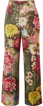 Gucci Floral-print Wool And Mohair-blend Wide-leg Pants - Green