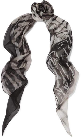 Saint LaurentSaint Laurent - Printed Silk-mousseline Scarf - Gray