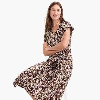 J.Crew Short-sleeve wrap dress in leopard satin-back crepe