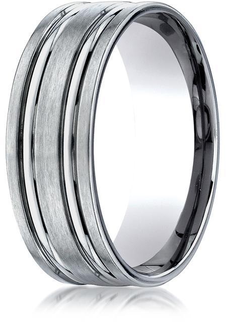 Benchmark Titanium 8mm Comfort-Fit Satin-Finished Concaved Cuts Design Ring