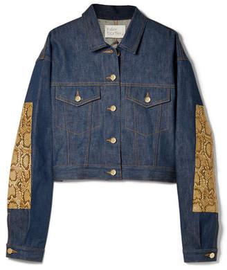 Hillier Bartley Oversized Snake-effect Leather-trimmed Denim Jacket