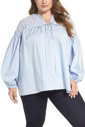 Glamorous Drawstring Yoke Blouse (Plus Size)