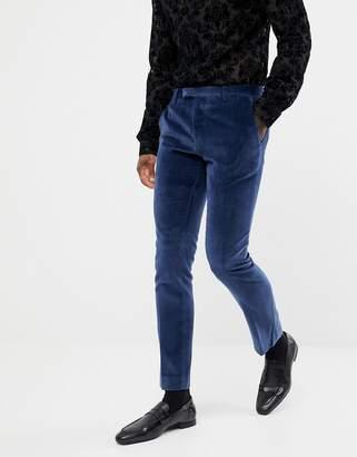 Twisted Tailor super skinny suit PANTS in navy velvet