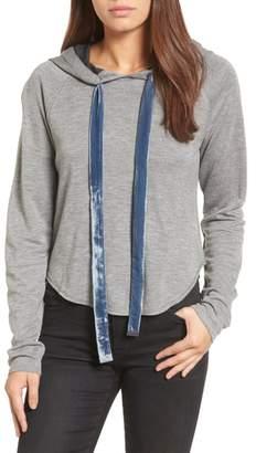 Kenneth Cole New York Velvet Tie Crop Hoodie