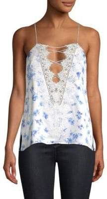 CAMI NYC Charlie Silk Lace-Up Floral Camisole