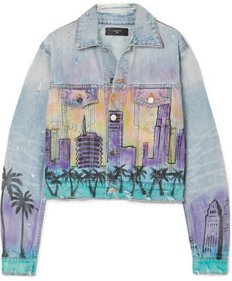 Amiri Airbrush Distressed Denim Jacket - Indigo