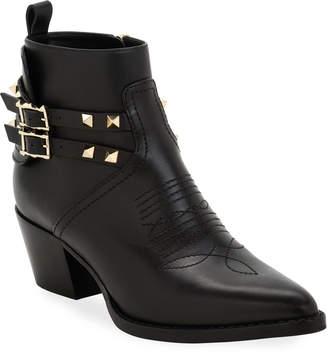 Valentino Rockstud Western Leather Booties