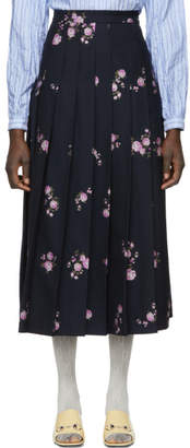 Gucci Navy Flowers Maxi Skirt