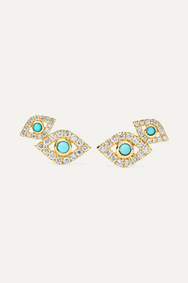 Sydney Evan Evil Eye 14-karat Gold, Diamond And Turquoise Earrings